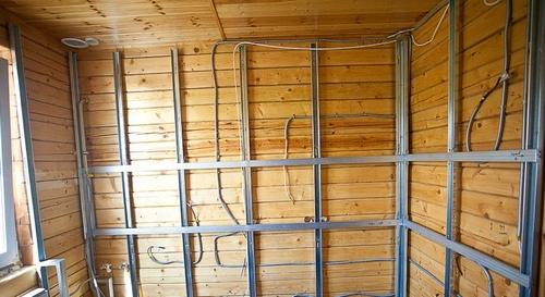 Как сделать стены из гипсокартона в деревянном 375